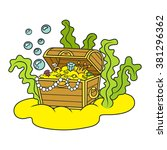 treasure chest full of gold and ... | Shutterstock .eps vector #381296362