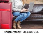 girl waiting airplane flight in ... | Shutterstock . vector #381303916