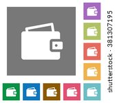 wallet flat icon set on color...