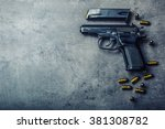 9 Mm Pistol Gun And Bullets...