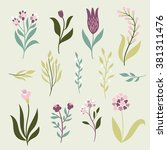 vector flowers set | Shutterstock .eps vector #381311476