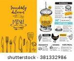 restaurant brochure vector ... | Shutterstock .eps vector #381332986