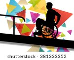 active disabled man in a... | Shutterstock .eps vector #381333352