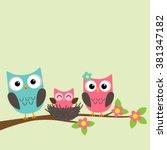 cartoon family of owls sitting... | Shutterstock .eps vector #381347182