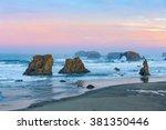 sunrise at bandon beach | Shutterstock . vector #381350446