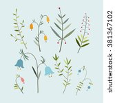 vector set of spring flowers in ... | Shutterstock .eps vector #381367102