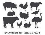 Stock vector farm animal silhouettes vector illustration 381367675