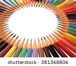 frame of colored pencils in