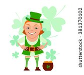 cartoon girl leprechaun with... | Shutterstock .eps vector #381370102