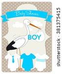 baby shower card  stork is...   Shutterstock .eps vector #381375415