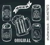 hand drawn of can beer on black ... | Shutterstock .eps vector #381407872