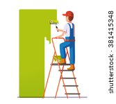 craftsman painting white wall... | Shutterstock .eps vector #381415348