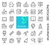 school education. outline icon... | Shutterstock .eps vector #381416296