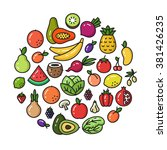vector collection of fruit and... | Shutterstock .eps vector #381426235