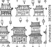 vector black and white oriental ... | Shutterstock .eps vector #381430078