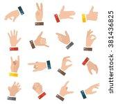 open empty hands showing... | Shutterstock .eps vector #381436825