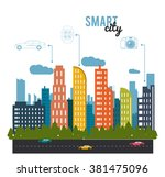 smart city design  | Shutterstock .eps vector #381475096