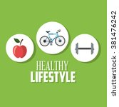 healthy lifestyle design  | Shutterstock .eps vector #381476242