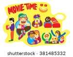 movie time doodle | Shutterstock .eps vector #381485332
