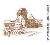 egyptian sphinx   illustration | Shutterstock .eps vector #381492595