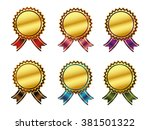 badge with ribbon icon vector... | Shutterstock .eps vector #381501322