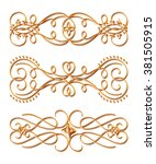 3d set of gold ornament on a... | Shutterstock . vector #381505915
