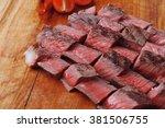 american meat big rare roast... | Shutterstock . vector #381506755