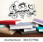 many books lying closed. | Shutterstock . vector #381527986