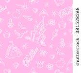 pink princess seamless pattern... | Shutterstock .eps vector #381528268