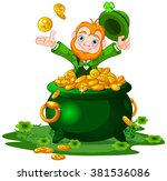 Cute Cartoon Leprechaun Sittin...