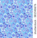 mosaic pattern in blue colors.... | Shutterstock . vector #381540676