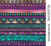 multicolor tribal doodle... | Shutterstock .eps vector #381553726