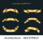 ribbon banner set.golden... | Shutterstock .eps vector #381559822