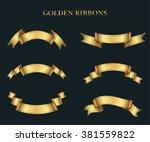 ribbon banner set.golden... | Shutterstock .eps vector #381559822