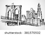 hand drawn brooklyn bridge and... | Shutterstock .eps vector #381570532