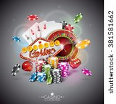 vector illustration on a casino ... | Shutterstock .eps vector #381581662