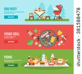 bbq party horizontal banner set ... | Shutterstock .eps vector #381588478
