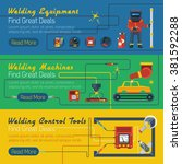 tree welder horizontal banners... | Shutterstock .eps vector #381592288