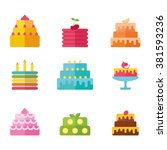 Cakes Set. Vector Cake Icon...