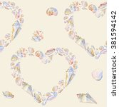 seashells heart seamless... | Shutterstock . vector #381594142