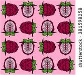 pink green berry pattern | Shutterstock .eps vector #381598258