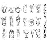 drinks doodle set. hand drawn... | Shutterstock .eps vector #381600385