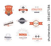 a set of logos for the gym.... | Shutterstock .eps vector #381607186