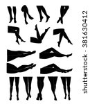 woman's legs in different poses ... | Shutterstock .eps vector #381630412