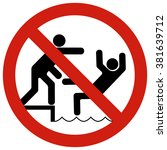 no pushing posters restraining... | Shutterstock .eps vector #381639712