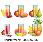set of glossy glases of various ... | Shutterstock .eps vector #381657382