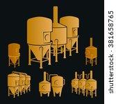 set with bronze beer brewery... | Shutterstock .eps vector #381658765