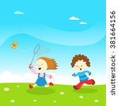 kids catching butterfly   Shutterstock .eps vector #381664156