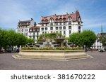 street of french resort aix les ... | Shutterstock . vector #381670222