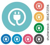 flat power cord icon set on...